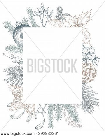 Vector Template For Christmas Greeting Card Or Invitation With Hand Drawn Winter Plants, Pine Cones,