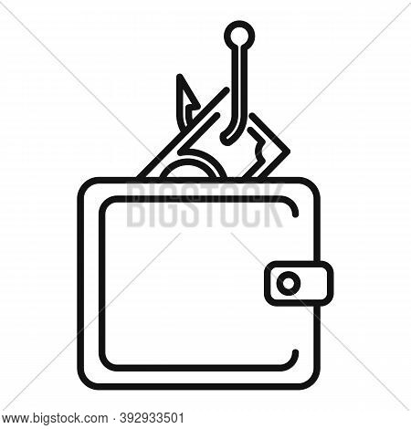 Digital Wallet Fraud Icon. Outline Digital Wallet Fraud Vector Icon For Web Design Isolated On White
