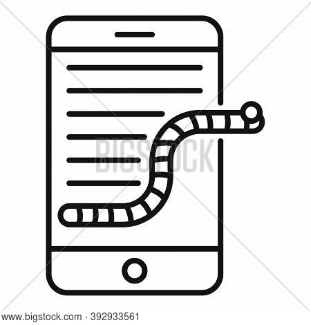 Smartphone Fraud Worm Icon. Outline Smartphone Fraud Worm Vector Icon For Web Design Isolated On Whi