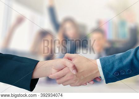 Business Handshake With Partnership On Blurred Business People Successful Concept Coworkers Handshak