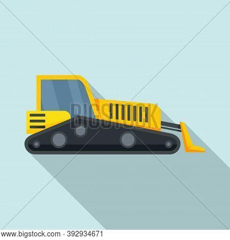 Road Bulldozer Icon. Flat Illustration Of Road Bulldozer Vector Icon For Web Design