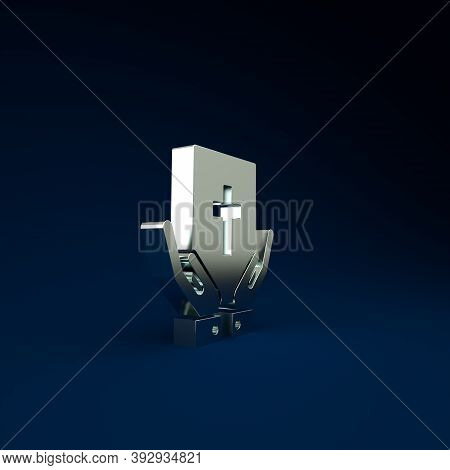Silver Oath On The Holy Bible Icon Isolated On Blue Background. The Procedure In Court. Truth And Tr
