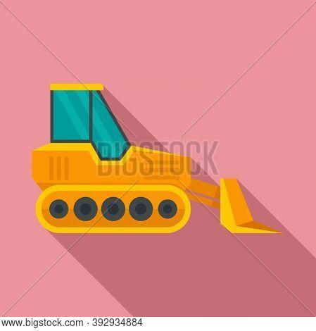 Front Bulldozer Icon. Flat Illustration Of Front Bulldozer Vector Icon For Web Design
