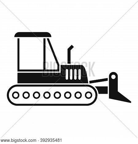 Machinery Bulldozer Icon. Simple Illustration Of Machinery Bulldozer Vector Icon For Web Design Isol
