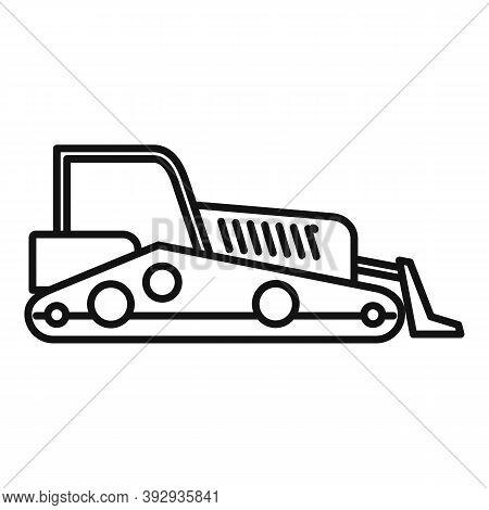 Road Bulldozer Icon. Outline Road Bulldozer Vector Icon For Web Design Isolated On White Background