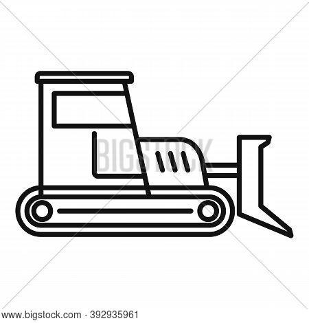 Build Bulldozer Icon. Outline Build Bulldozer Vector Icon For Web Design Isolated On White Backgroun