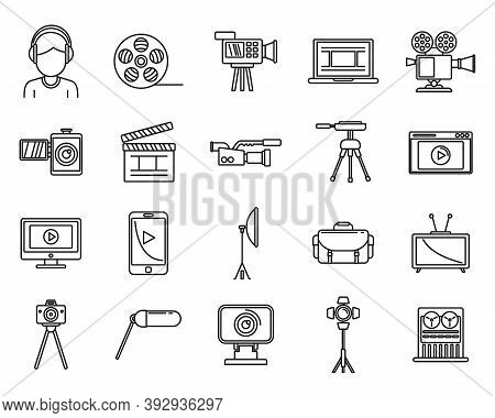 Video Cameraman Icons Set. Outline Set Of Video Cameraman Vector Icons For Web Design Isolated On Wh