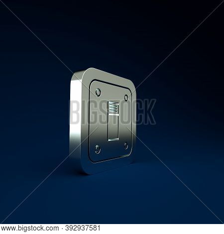 Silver Electric Light Switch Icon Isolated On Blue Background. On And Off Icon. Dimmer Light Switch
