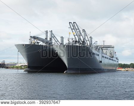 Norfolk, Usa - June 9, 2019: Image Of The Benavidez And Mendonca Two Bob Hope-class Cargo Ships Of T