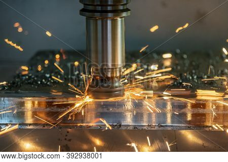 The Burning Chip From Cnc Milling Machine Rough Cutting  By Index-able  End-mill Tools. The Bad Cutt