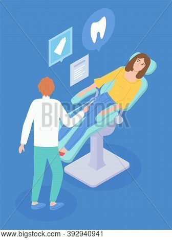 Dental Treatment Illustration. The Dentist Communicates With The Patient. Patient In Dental Chair. I