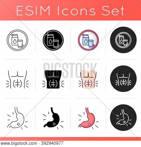 Abdominal Pain Icons Set. Lactose Intolerance. Abdominal Muscle Strain. Gastritis. Stomach Ulcer. Fu