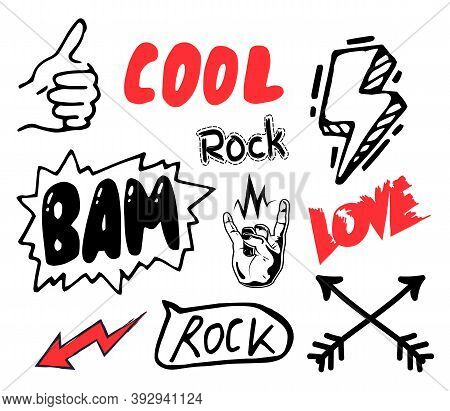 Black And Red Text Inscription For Sticker Or Label. Thumb Up, Cool, Rock, Bam, Love, Red Arow, Blac