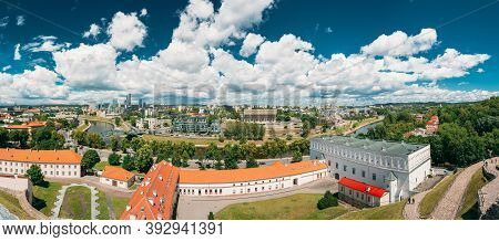 Vilnius, Lithuania. Modern City And Part Of Old Town. Behind New Arsenal At Northern Foot Of Castle