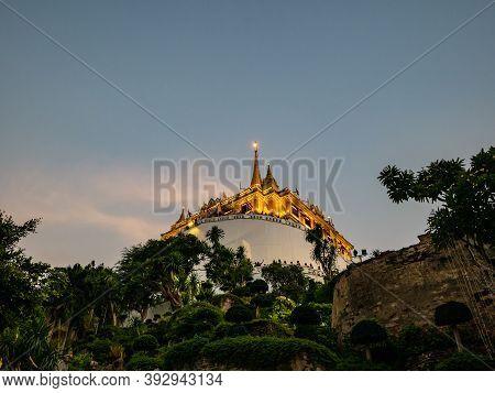 Golden Mount In Wat Saket Temple In Loi Krathong Festival.loi Krathong Temple Fair In Wat Saket Temp