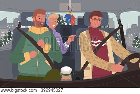 Smiling Men Friends Sitting In Car And Traveling Together. Male Character Wearing Sweater Warm Cloth