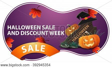 Halloween Saleand Discount Week, Purple Discount Banner Withwooden Sign, Witch Hat And Pumpkin Jack.