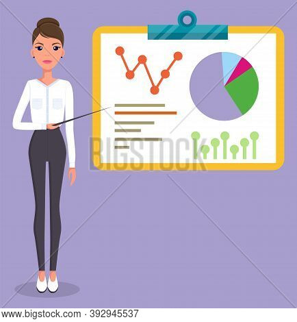 Office Worker Stylish Businesswoman Standing Near Board With Visual Presentation. Growing Graphic. W