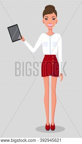 Young Beautiful Slender Woman Stands And Holds Tablet. Girl In Red Short Skirt And White Blouse. Cut