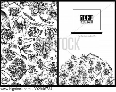 Menu Cover Floral Design With Black And White Anemone, Lavender, Rosemary Everlasting, Phalaenopsis,