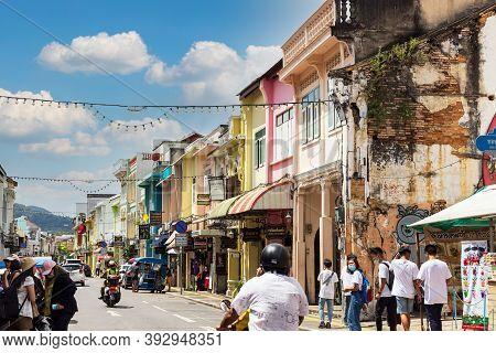 Phuket, Thailand - 31 Oct 2020 : Phuket Town Facade In Phuket, Thailand. It Is Historical Town Formi