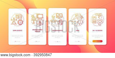 Top Careers In It For Creative Thinkers Onboarding Mobile App Page Screen With Concepts. Programming