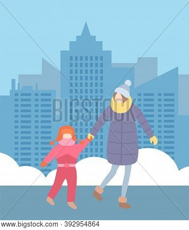 Urban City Background. Mother With Daughter Walking Outdoors At Winter Wearing Warm Clothes, Knitted