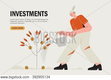Business Investment Banner, Landing Page, Web Ui Illustration. Revenue And Income Metaphor. Characte