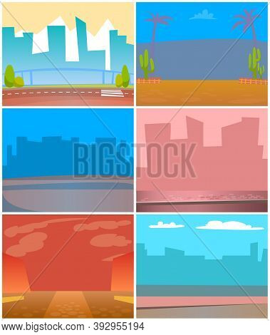 Small Towns And Big Cities Vector, Silhouettes Skylines And Cityscapes With Haze And Smog. Desert Wi