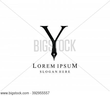 The Writer, Simple Pen Y Letter Vintage Logo Design. Perfect For  Journalist, Writer, Artist And Pub