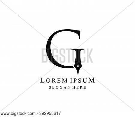 The Writer, Simple Pen G Letter Vintage Logo Design. Perfect For  Journalist, Writer, Artist And Pub