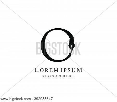 The Writer, Simple Pen O Letter Vintage Logo Design. Perfect For  Journalist, Writer, Artist And Pub