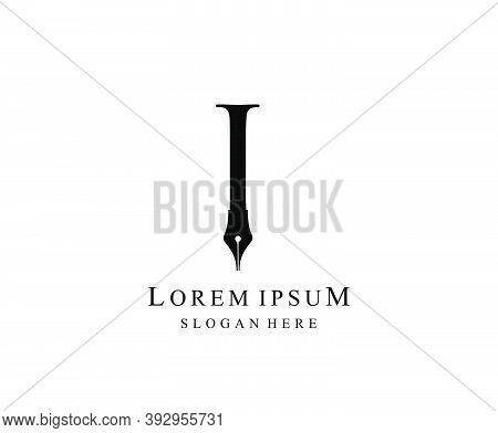 The Writer, Simple Pen I Letter Vintage Logo Design. Perfect For  Journalist, Writer, Artist And Pub