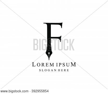 The Writer, Simple Pen F Letter Vintage Logo Design. Perfect For  Journalist, Writer, Artist And Pub