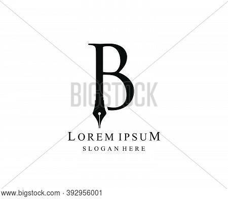 The Writer, Simple Pen B Letter Vintage Logo Design. Perfect For  Journalist, Writer, Artist And Pub