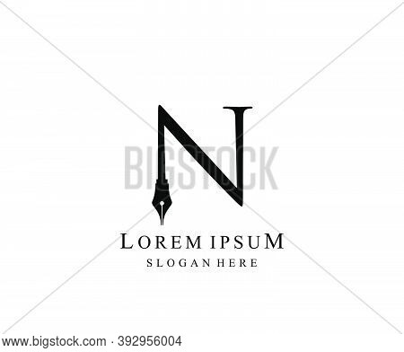 The Writer, Simple Pen N Letter Vintage Logo Design. Perfect For  Journalist, Writer, Artist And Pub