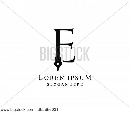 The Writer, Simple Pen E Letter Vintage Logo Design. Perfect For  Journalist, Writer, Artist And Pub