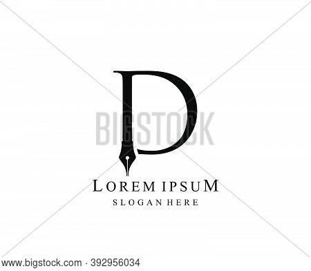 The Writer, Simple Pen D Letter Vintage Logo Design. Perfect For  Journalist, Writer, Artist And Pub