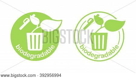 Biodegradable Products Sign - Plant Growths From Trash Bin - Eco Friendly Compostable Material Produ