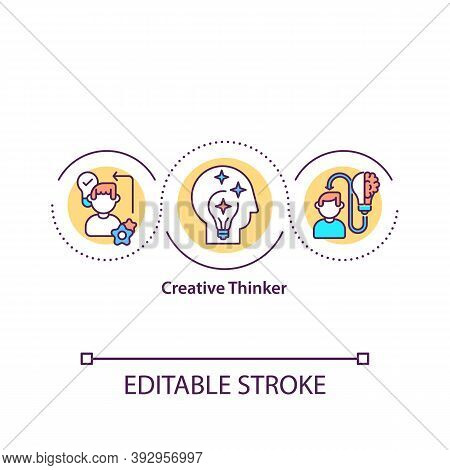 Creative Thinker Concept Icon. Meet Challenges. Unorthodox Perspective. Open-minded Person Idea Thin