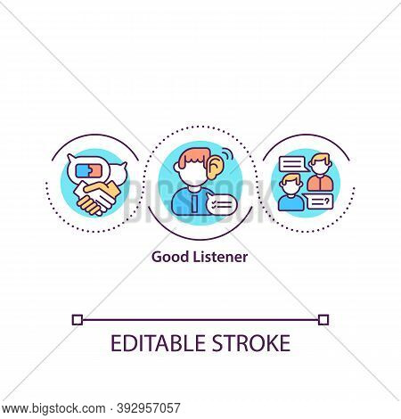 Good Listener Concept Icon. No Interruption. Communication, Conversation. Passive Speaking. Attentiv
