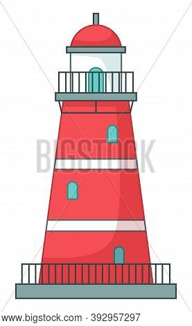 Lighthouse Icon Isolated At White, Navigation Building For Ships, Cartoon Vector Red Lighthouse, Bea