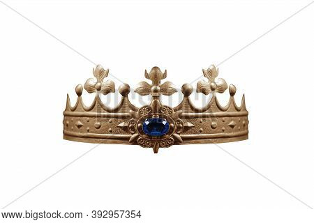 Crown With Blue Gemstone Isolated On White Background.
