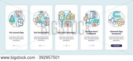 App Marketing Tips Onboarding Mobile App Page Screen With Concepts. Pre Launch App Showing Walkthrou