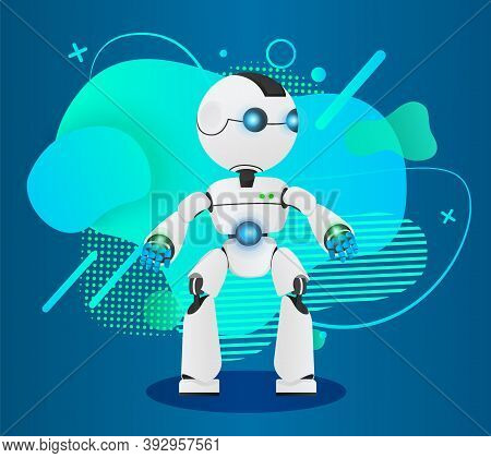 Futuristic Robot Like A Human, Artificial Intelligence. Innovative Humanized Model Of Robot. Realist