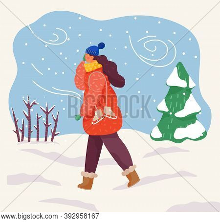 Female Character Wearing Warm Clothes Hat And Scarf Returning Home From Skating Rink. Blizzard Snowf