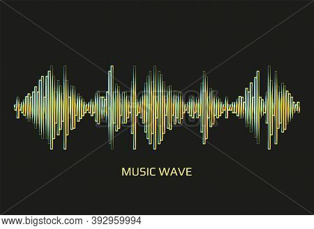 Modern Neon Music Wave Frequency Logo. Digital Audio Technology. Stylized Wave Lines, Design Element