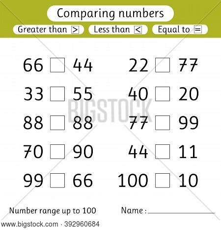 Comparing Numbers. Less Than, Greater Than, Equal To. Worksheets For Kids. Number Range Up To 100. P