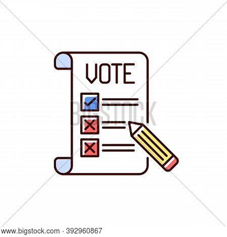 Voting Ballot Rgb Color Icon. Collective Decision. Participation In Democratic Process. General Elec