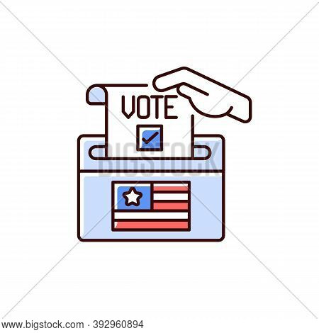 Ballot Drop Box Rgb Color Icon. Voting For Candidate. Political System. Selection Party Official Can